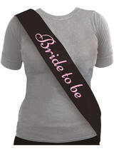 Sash Bride To Be Black With Pink Text