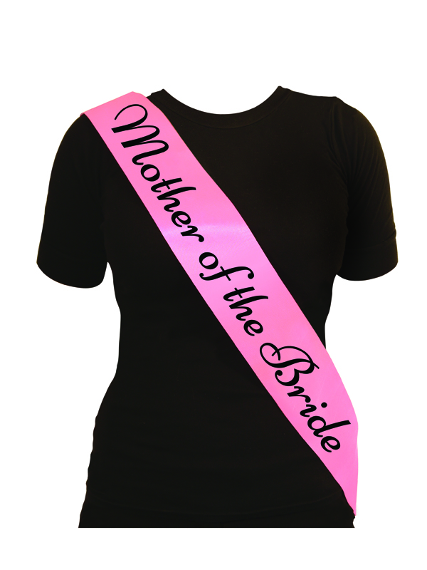 Sash Mother Of The Bride Pink With Black Text