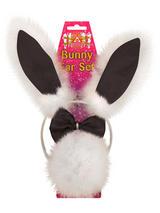 Headband Bunny Ear Set Black With White Fur