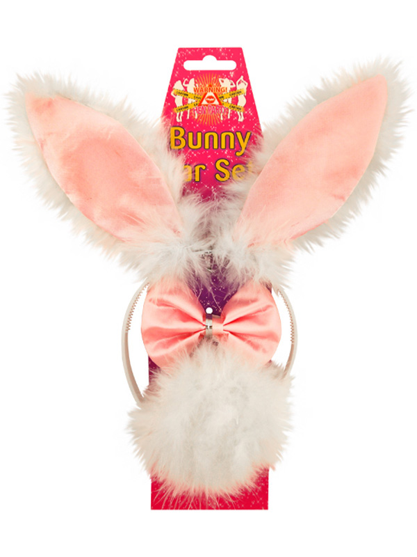 Headband Bunny Ear Set Pink With White Fur