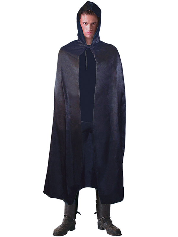 Hooded Satin Cape Black