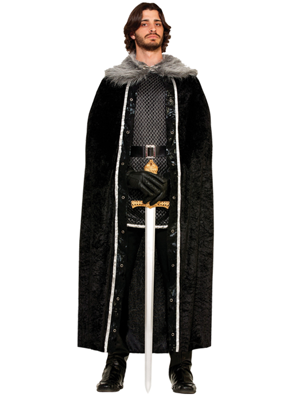 Faux Fur Trimmed Cape Black