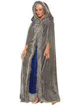 Faux Fur Trimmed Cape Grey
