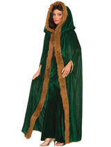 Faux Fur Trimmed Cape Green