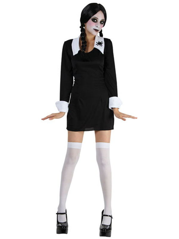 Deguisement Mercredi Addams kids creepy school girl wednesday addams fancy dress halloween