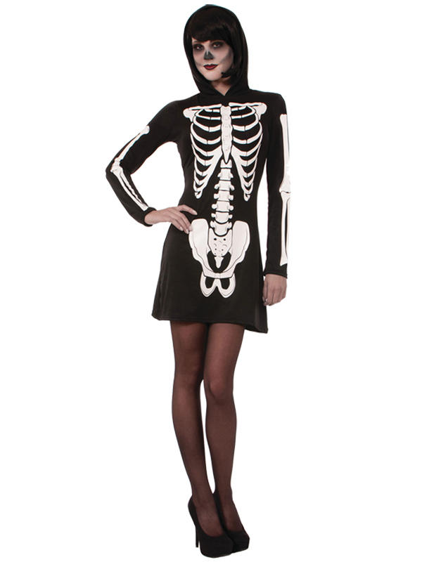 Skeleton Mini Dress Hooded Costume