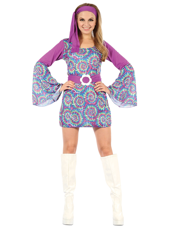 Groovy Psychedelic Hippy Lady Dress Costume