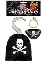 Pirate Hook With Eye Patch & Earring
