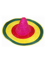 Adult Hat Straw Sombrero Coloured