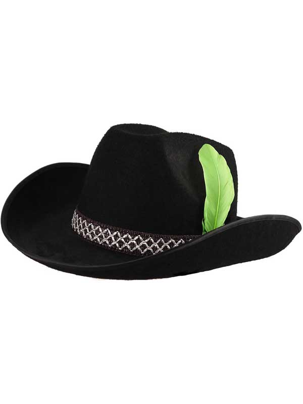 Adult Cowboy Hat With Feather (Black)