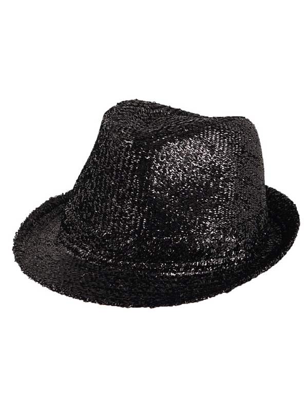 Adult Ladies Hat Gangster Tinsel Black