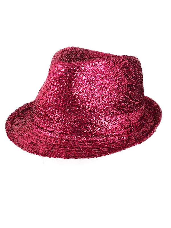 Adult Ladies Hat Gangster Tinsel Hot Pink