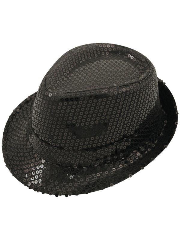 Adult Ladies Hat Gangster Sequin Black
