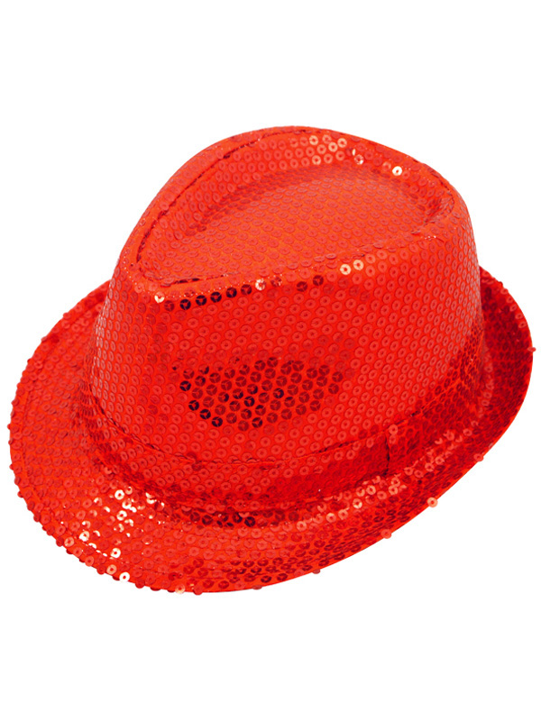 Adult Ladies Hat Gangster Sequin Red