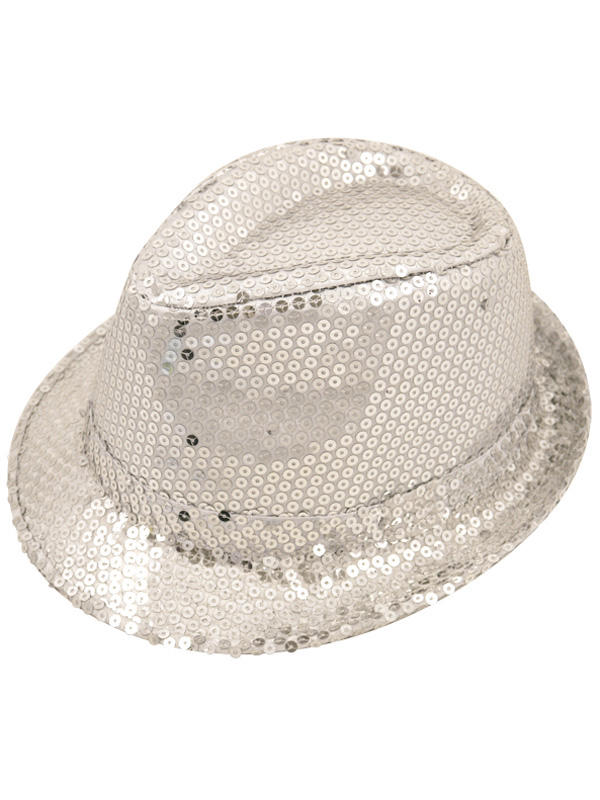 Adult Ladies Hat Gangster Sequin Silver