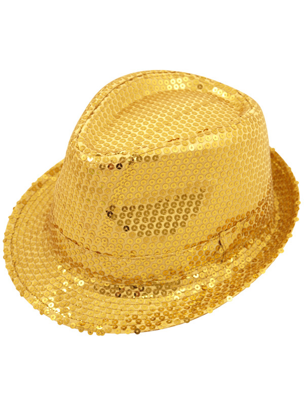 Adult Ladies Hat Gangster Sequin Gold