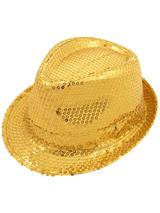 Adult Ladies Hat Gangster Sequin Gold