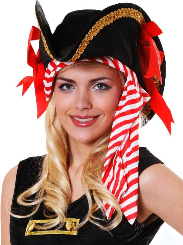 Adult Ladies Pirate Hat with Bandana Thumbnail 1