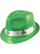 Adult Sequin Gangster Shamrock Hat