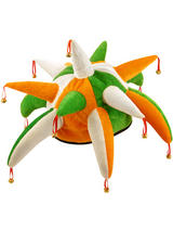 Adult Jester Hat with Bells (Green/Orange/White)