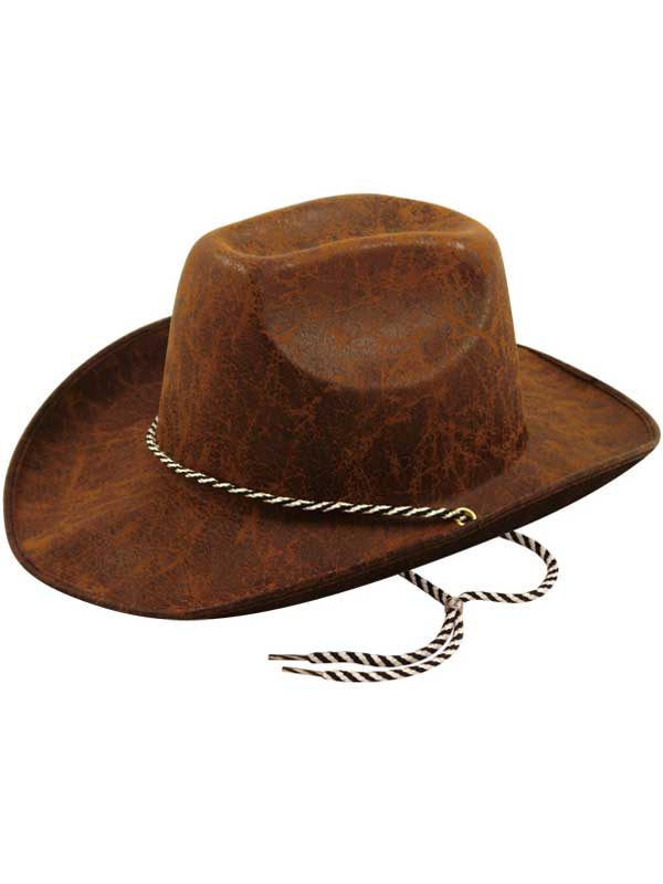 Adult Stressed Leather Effect Cowboy Hat (Dark Brown)
