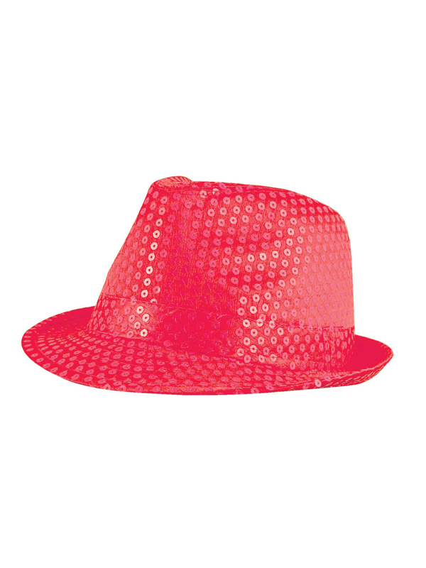 Adult Ladies Hat Gangster Sequin Neon Pink