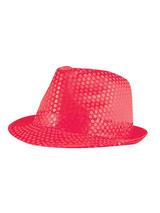 Adult Ladies Hat Gangster Sequin Neon Pink