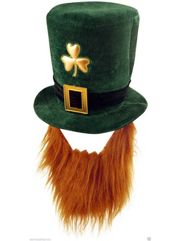 Adult Deluxe Soft Fabric Irish Shamrock Hat with Beard