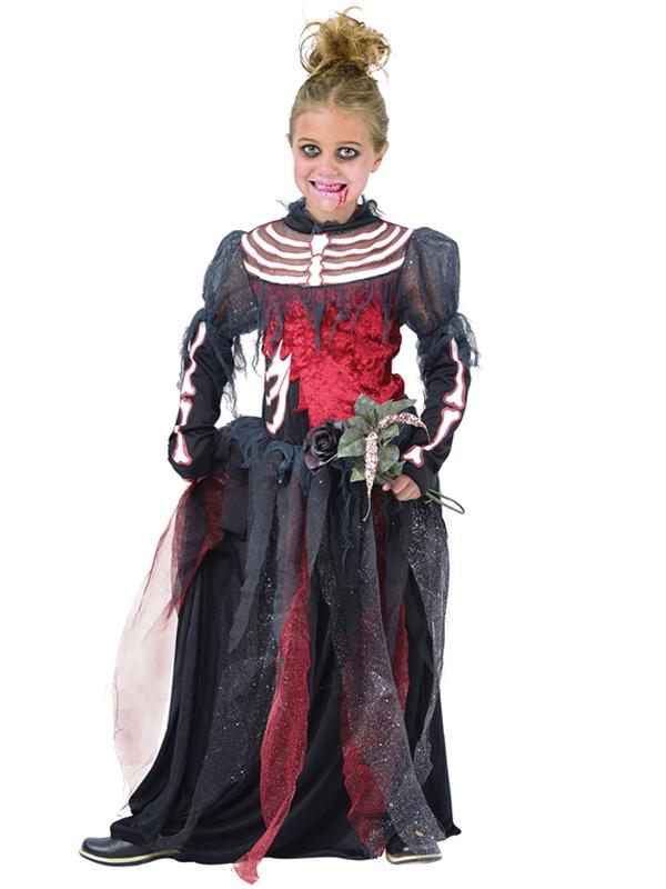 Child Girls Skeleton Bride Costume