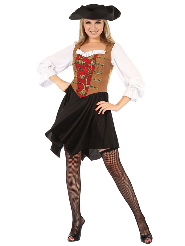 Pirate Lady Dress Red Brown Costume