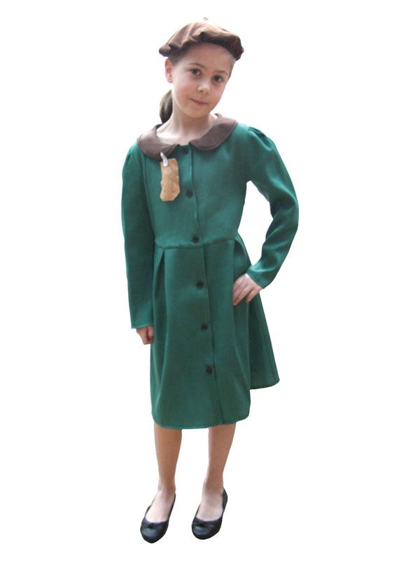 Child Evacuee Girl Costume Coat & Hat