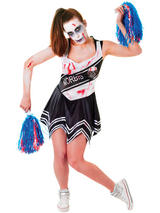 Zombie Cheerleader Black White Costume Dress