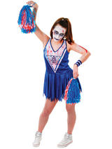 Zombie Cheerleader Blue White Costume Dress