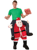Carry Santa Ride On Piggy Back Mascot Fancy Dress Costume Father Christmas