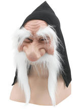 Gnome Mask With Hood & White Moustache