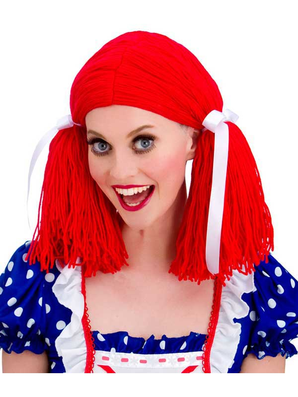 Adult Ladies Rag Doll Wig Red