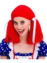 Adult Ladies Rag Doll Wig Red