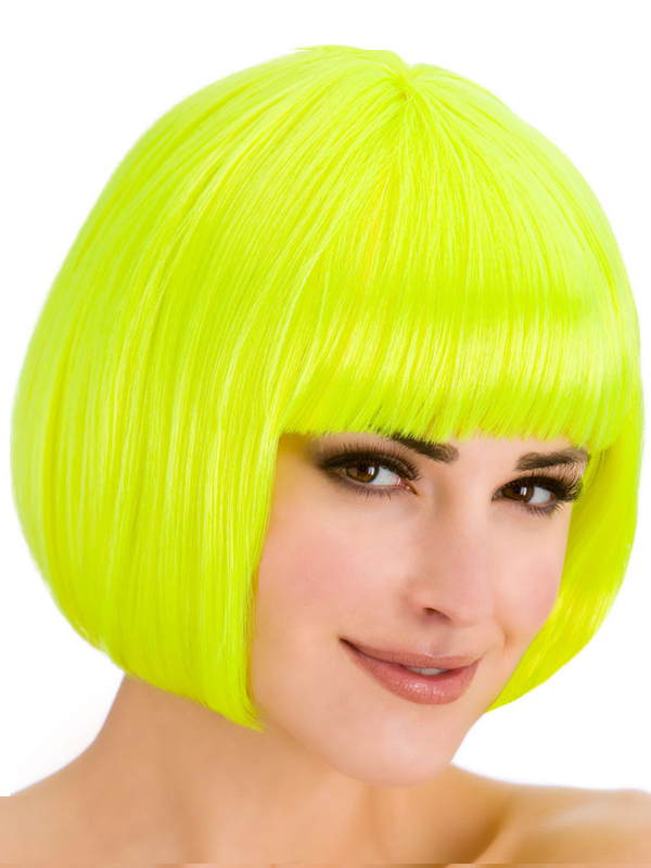 Adult Ladies Diva Neon Yellow Wig