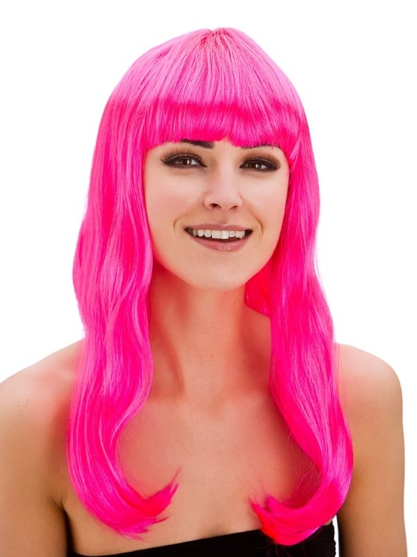 Adult Ladies Fantasy Wig Neon Pink
