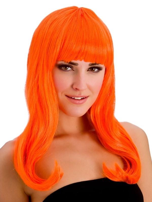 Adult Ladies Fantasy Wig Neon Orange