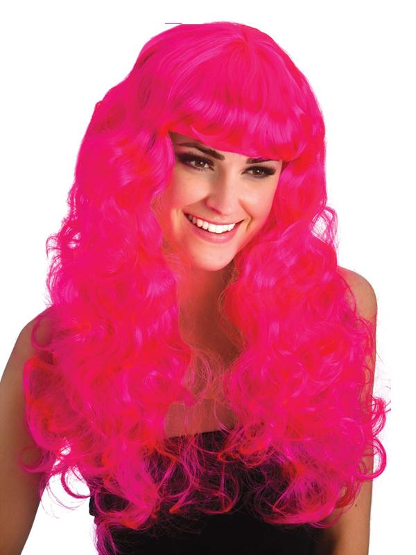 Adult Ladies Foxy Neon Pink Wig