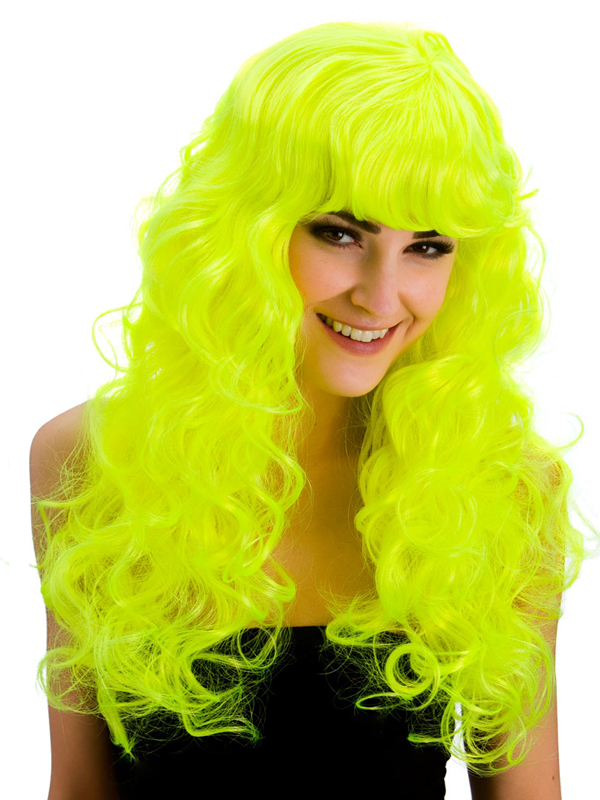 Adult Ladies Foxy Neon Yellow Wig