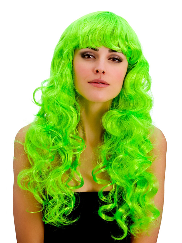 Adult Ladies Foxy Neon Green Wig