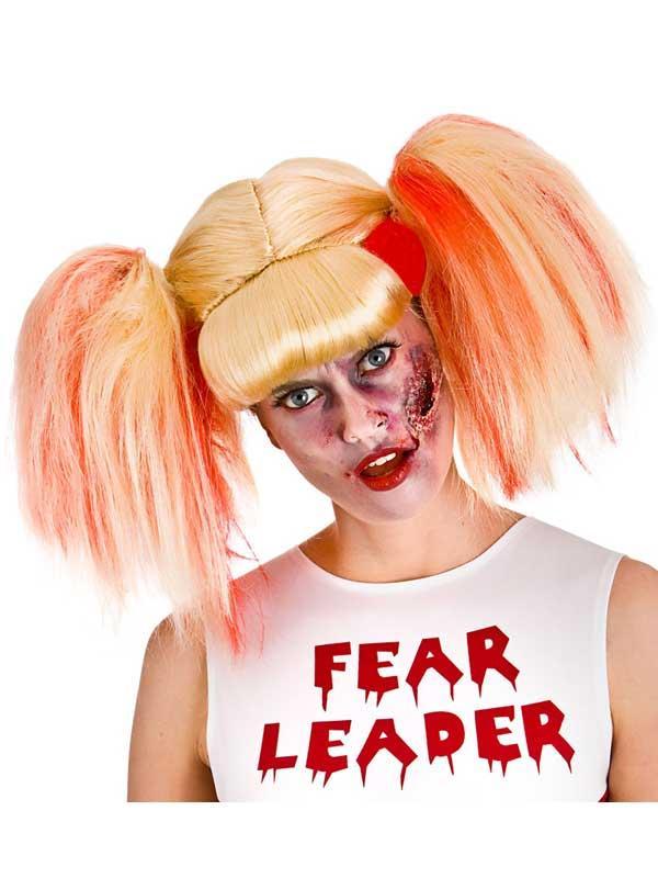 Adult Ladies Zombie Fearleader Wig (Blonde/Red)