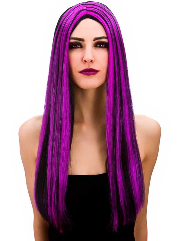 Adult Ladies Bewitched Wig Black Purple