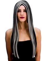 Adult Ladies Bewitched Wig Black Silver