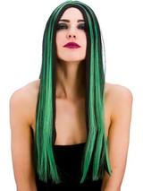 Adult Ladies Bewitched Wig Black Green
