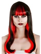Adult Ladiesalluring Vampire Fantasy Wig Black Red