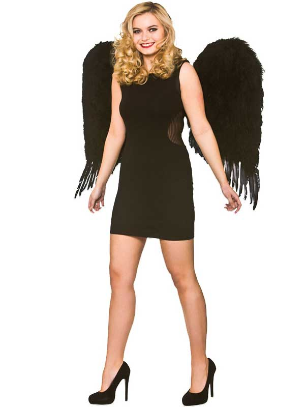 Adult Deluxe Large Feather Wings (Black)