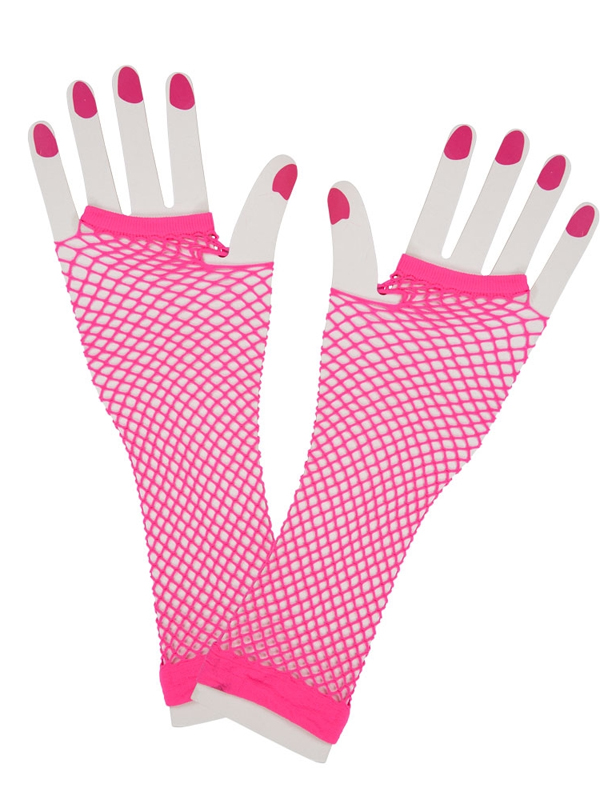 Net Gloves Long Neon Pink
